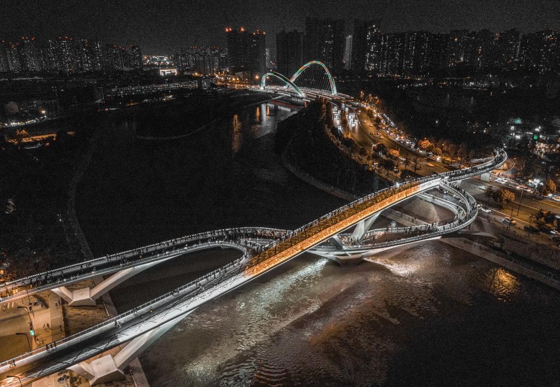 夜景,公路,吊桥,成都,四川,网红桥,桥,五岔子大桥,成都江滩公园,黑金色